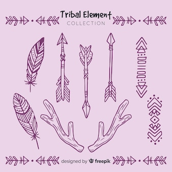 Coleção de elemento tribal desenhada de mão