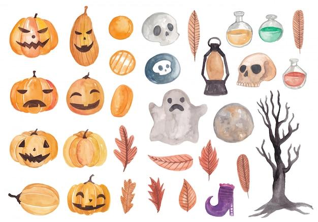 Coleção de elementos aquarela de halloween bonito