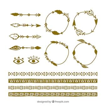 Coleção de elementos boho com design plano