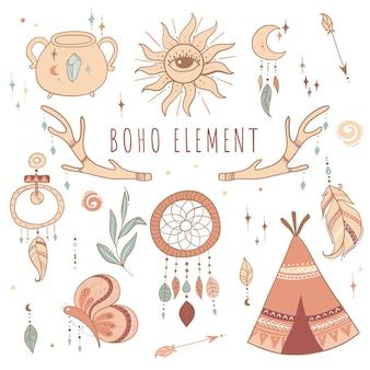 Coleção de elementos boho desenhada à mão
