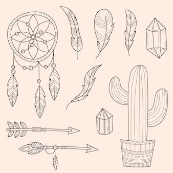 Coleção de elementos boho desenhados à mão para gravura