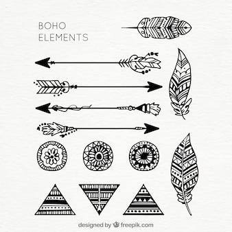 Coleção de elementos boho desenhados à mão