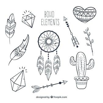 Coleção de elementos boho no estilo hippie