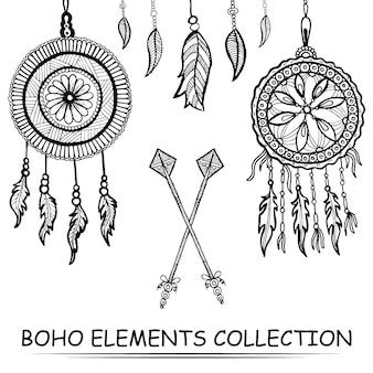 Coleção de elementos boho