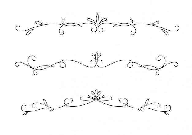 Coleção de elementos caligráficos decorativos desenhados à mão
