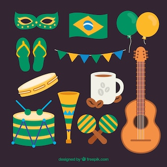 Coleção de elementos carnavalescos brasileiros