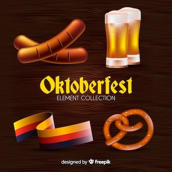 Coleção de elementos clássicos de oktoberfest com design realista