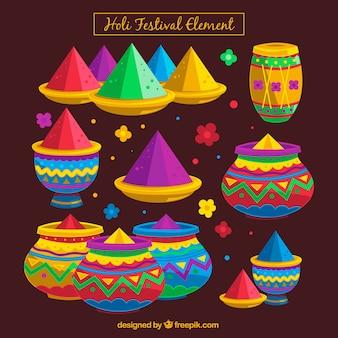 Coleção de elementos coloridos de holi