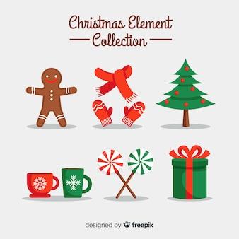 Coleção de elementos coloridos de natal com design plano