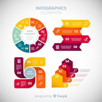 Coleção de elementos coloridos infográfico com design plano