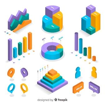 Coleção de elementos coloridos infográfico isométrica