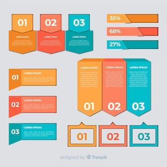 Coleção de elementos coloridos infográfico plana