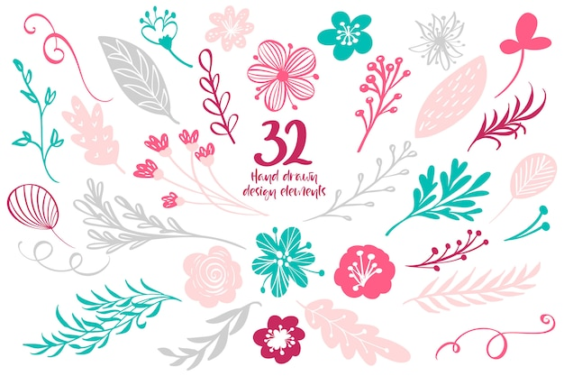 Coleção de elementos com folhas e flores para cartões