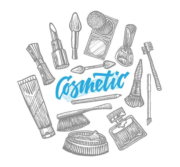 Coleção de elementos cosméticos desenhados à mão