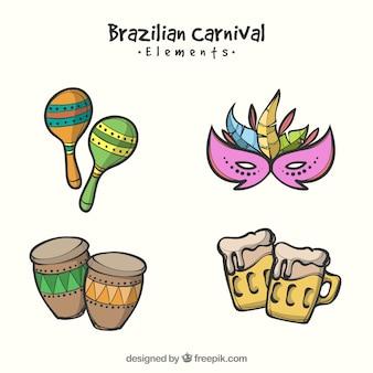 Coleção de elementos criativos de carnaval desenhados a mão