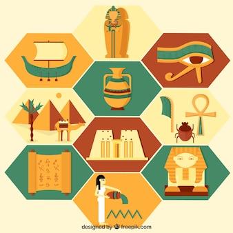 Coleção de elementos cultura egípcia