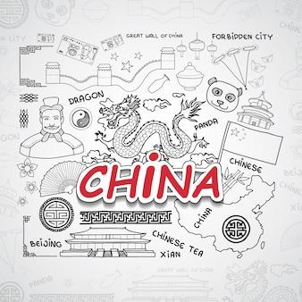 Coleção de elementos da china