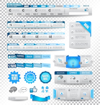 Coleção de elementos da web: itens de menu