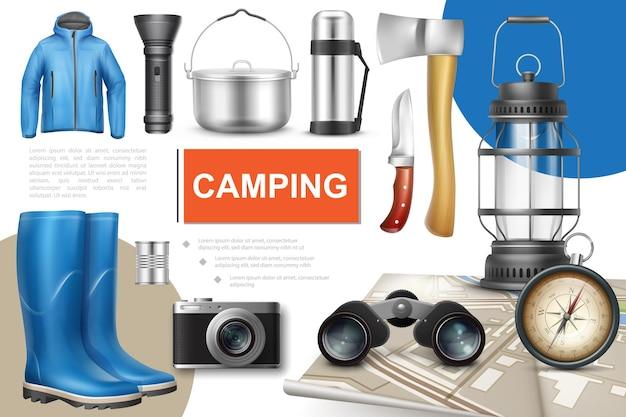 Coleção de elementos de acampamento realista com lanterna bandeja de metal comida enlatada bússola térmica machado faca lanterna mapa binóculos câmera botas de borracha