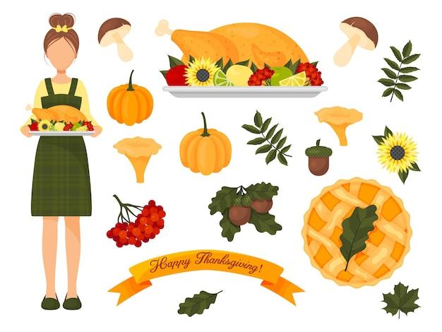Coleção de elementos de ação de graças. conjunto de outono. ilustração vetorial. estilo de desenho animado. ícones isolados em branco.