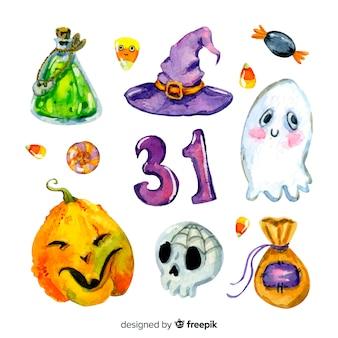 Coleção de elementos de aquarela de halloween