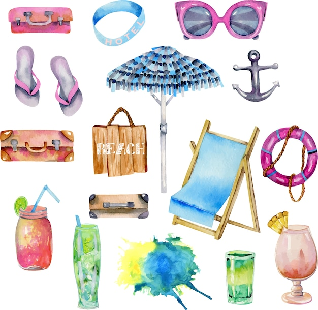 Coleção de elementos de aquarela de praia e viagens