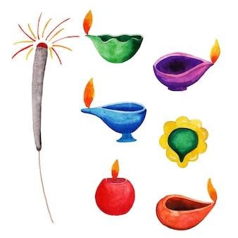 Coleção de elementos de aquarela diwali