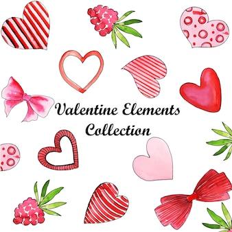 Coleção de elementos de aquarela dos namorados