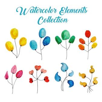 Coleção de elementos de aquarela