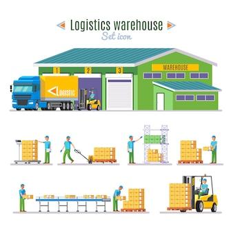 Coleção de elementos de armazém logístico
