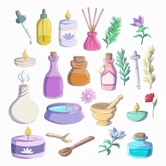Coleção de elementos de aromaterapia desenhados à mão