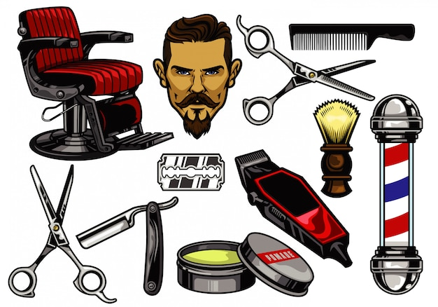 Coleção de elementos de barbearia