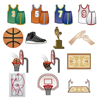 Coleção de elementos de basquete
