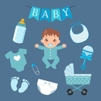 Coleção de elementos de bebê fofo menino design de desenho vetorial de estilo simples