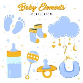 Coleção de elementos de bebê fofos e adoráveis