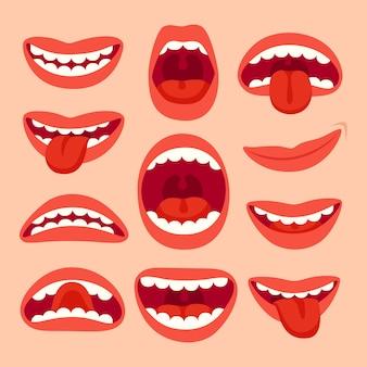 Coleção de elementos de boca dos desenhos animados.