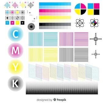 Coleção de elementos de calibração cmyk