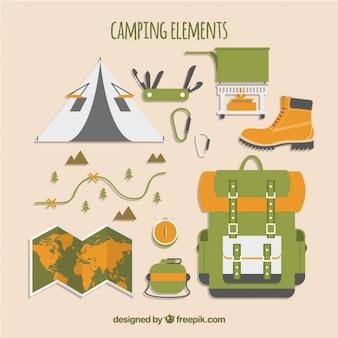 Coleção de elementos de campismo