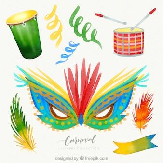 Coleção de elementos de carnaval desenhados mão bonita