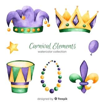 Coleção de elementos de carnaval em aquarela