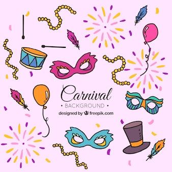 Coleção de elementos de carnaval em estilo desenhado a mão