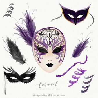 Coleção de elementos de carnaval roxos desenhados à mão