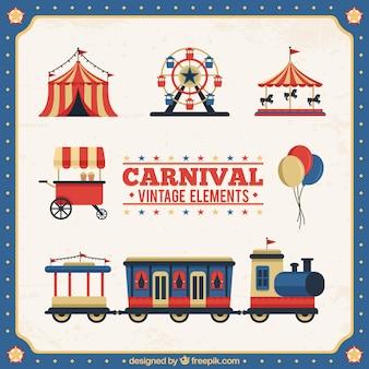 Coleção de elementos de carnaval vintage