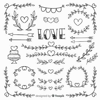 Coleção de elementos de casamento mão desenhada