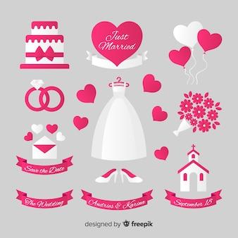 Coleção de elementos de casamento plana