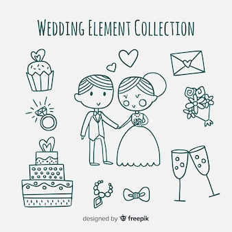 Coleção de elementos de casamento