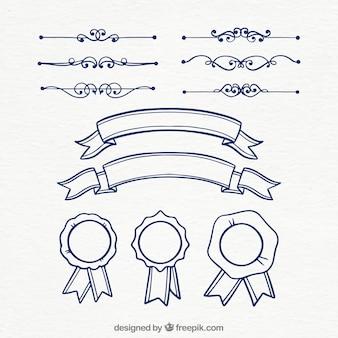 Coleção de elementos de certificado de mão desenhada