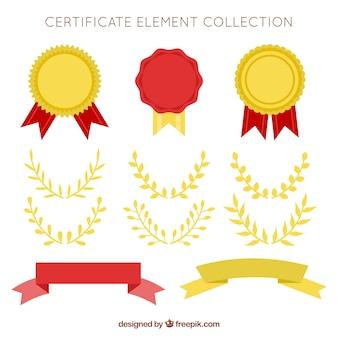 Coleção de elementos de certificado na cor dourada