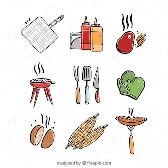 Coleção de elementos de churrasco com comida e ferramentas