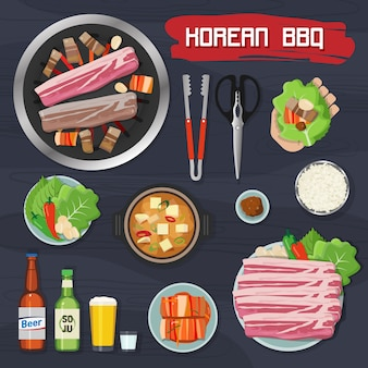 Coleção de elementos de churrasco coreano
